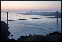 Golden Gate Bridge, San Francisco Bay, and city at dawn. San Francisco, California, USA
