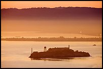 Sunrise, Alcatraz Island and Treasure Island. San Francisco, California, USA (color)