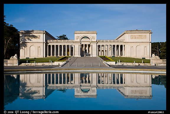 California Palace of the Legion of Honor with reflections, early morning. San Francisco, California, USA (color)