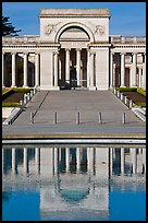 Entrance of Palace of the Legion of Honor reflected in pool. San Francisco, California, USA (color)
