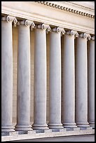 Columns in the forecourt, Legion of Honor, early morning. San Francisco, California, USA (color)