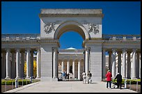 Entrance of  Palace of the Legion of Honor museum with tourists. San Francisco, California, USA (color)