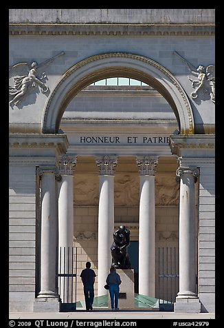 Entrance, Rodin sculpture, and tourists, California Palace of the Legion of Honor museum. San Francisco, California, USA (color)