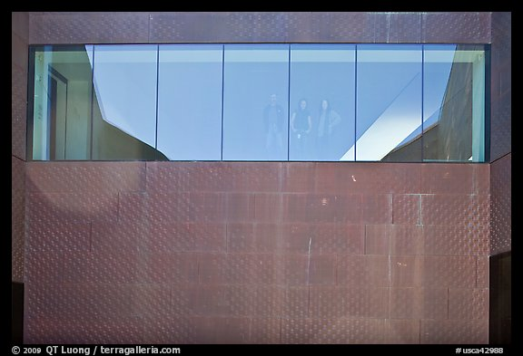Copper-covered wall and bay window, De Young museum. San Francisco, California, USA (color)