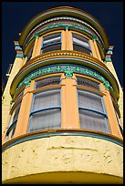 Brightly painted yellow tower of Victorian house, Haight-Ashbury District. San Francisco, California, USA ( color)