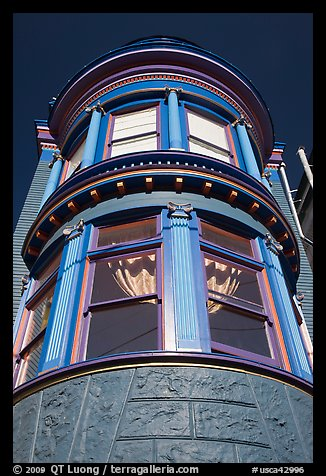 Brightly painted blue tower of Victorian house, Haight-Ashbury District. San Francisco, California, USA (color)