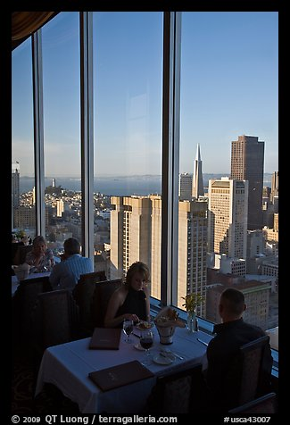 Rooftoop restaurant dining with a view. San Francisco, California, USA (color)
