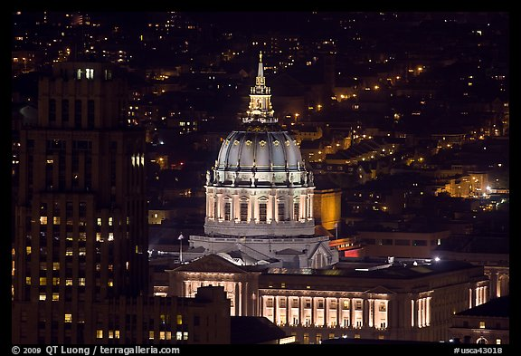 City Hall at night from above. San Francisco, California, USA (color)