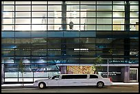 Limousine and glass building. San Francisco, California, USA (color)