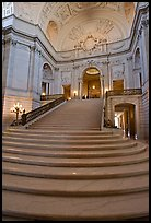 Interior grand stairs, City Hall. San Francisco, California, USA (color)