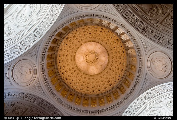 City Hall dome from below, fifth largest in the world. San Francisco, California, USA (color)