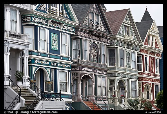 Row of elaborately decorated victorian houses. San Francisco, California, USA (color)