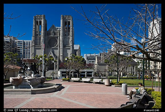 Huntington Park and Grace Cathedral. San Francisco, California, USA (color)