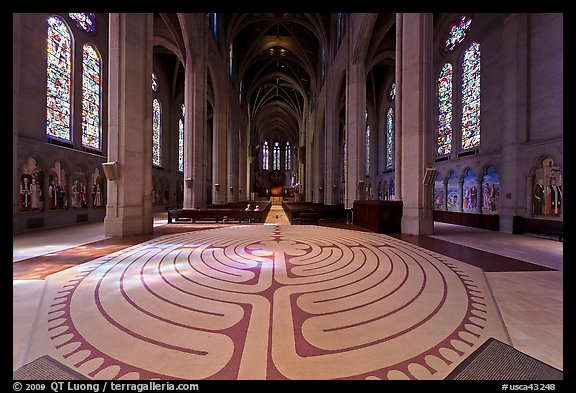 Labyrinth inside Grace Cathedral. San Francisco, California, USA (color)