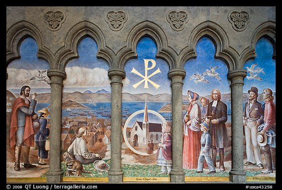 Fresco depicting the old Grace Chapel, Grace Cathedral. San Francisco, California, USA (color)