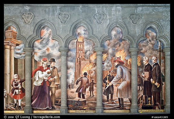 Fresco depicting the fire destroying the old Grace Cathedral, Grace Cathedral. San Francisco, California, USA (color)