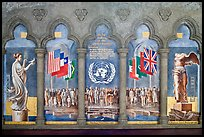 Fresco memorializing the founding of the United Nations, Grace Cathedral. San Francisco, California, USA (color)