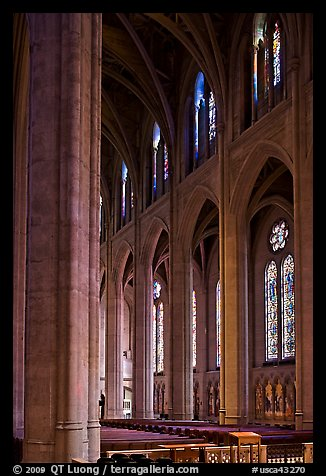 Nave and stained glass windows, Grace Cathedral. San Francisco, California, USA (color)