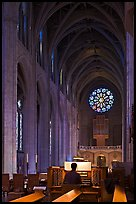 Organist, nave, and rose window, Grace Cathedral. San Francisco, California, USA (color)