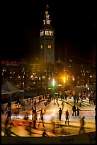Ice rink and Ferry Building tower at night. San Francisco, California, USA ( color)