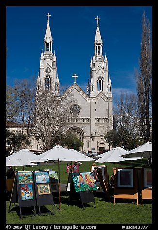 Art fair and St Peter and Paul Church, North Beach. San Francisco, California, USA