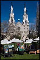 Art fair and St Peter and Paul Church, North Beach. San Francisco, California, USA (color)