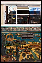 Decor from beatnik period and window reflecting city light sign, North Beach. San Francisco, California, USA ( color)