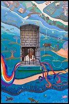 Mural and window, North Beach. San Francisco, California, USA ( color)