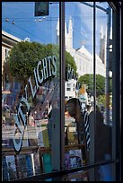 City Light Bookstore glass with church reflections, North Beach. San Francisco, California, USA (color)