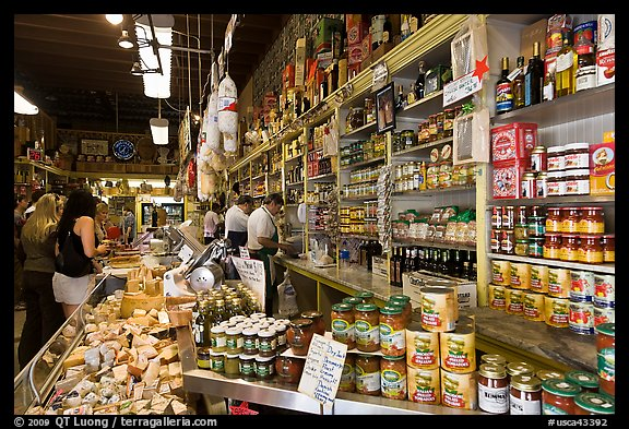 Italian grocery store interior with customers, Little Italy, North Beach. San Francisco, California, USA (color)