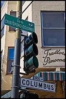 Traffic light and signs, Little Italy, North Beach. San Francisco, California, USA (color)