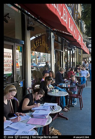 Cafe outdoor sitting, Little Italy, North Beach. San Francisco, California, USA (color)