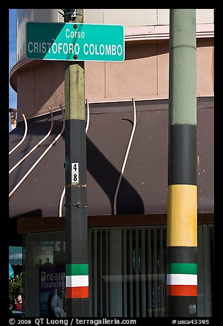 Italian flags painted on lamp posts and name of street in Italian, Little Italy, North Beach. San Francisco, California, USA (color)