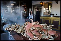 Crabs ready to be cooked, Fishermans wharf. San Francisco, California, USA (color)