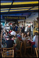 Outdoor terrace of seafood restaurant, Fishermans wharf. San Francisco, California, USA