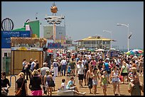 Summer crowds on Santa Monica Pier. Santa Monica, Los Angeles, California, USA ( color)