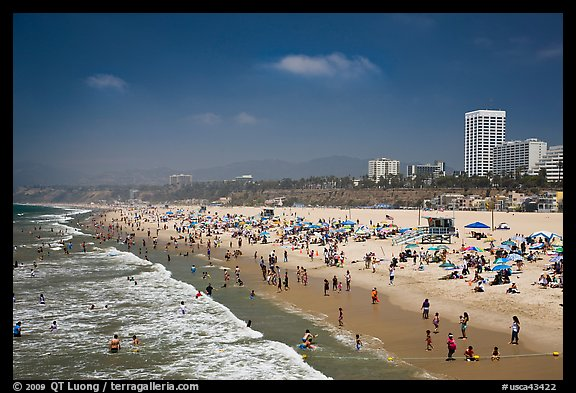Santa Monica Beach In Summer Los Angeles California