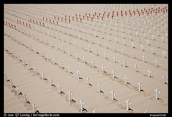 Sea of white and red crosses on Santa Monica beach. Santa Monica, Los Angeles, California, USA (color)