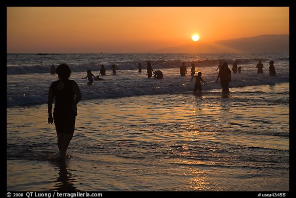 Ocean bathers at sunset, Santa Monica Beach. Santa Monica, Los Angeles, California, USA (color)