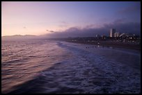 Ocean and beachfront at sunset. Santa Monica, Los Angeles, California, USA (color)