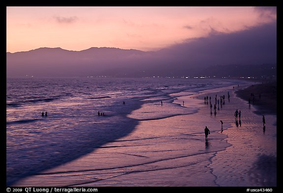 Beach with purple color at sunset. Santa Monica, Los Angeles, California, USA (color)