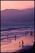 Santa Monica Beach and Mountains at sunset. Santa Monica, Los Angeles, California, USA (color)