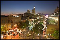 View from above of Third Street Promenade at dusk. Santa Monica, Los Angeles, California, USA ( color)