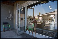 Sculptures, gallery, and reflections, Bergamot Station. Santa Monica, Los Angeles, California, USA (color)