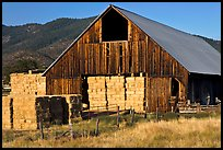 Barn and hay, Yreka. California, USA (color)