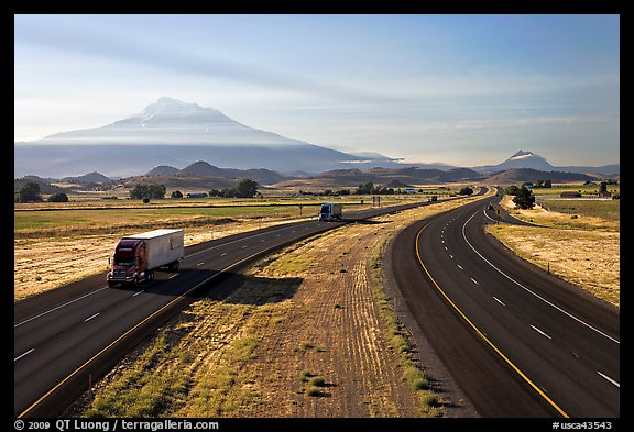 Highway 5 and Mount Shasta. California, USA (color)