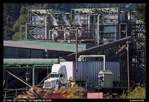 Pacific Lumber Company mill and truck, Scotia. California, USA (color)