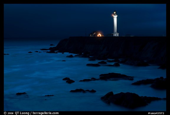 Point Arena Light Station at night. California, USA (color)