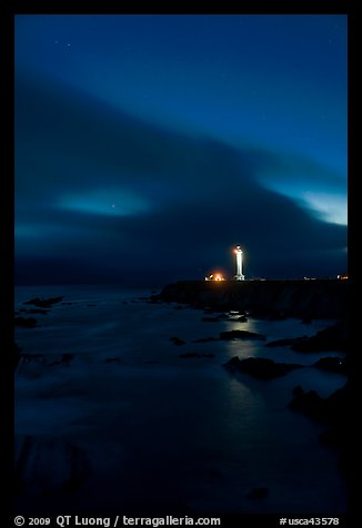 Point Arena Lighthouse and stary sky. California, USA (color)