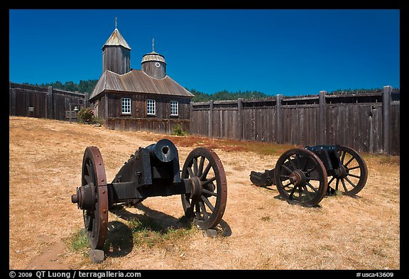 Cannons and chapel, Fort Ross Historical State Park. Sonoma Coast, California, USA (color)